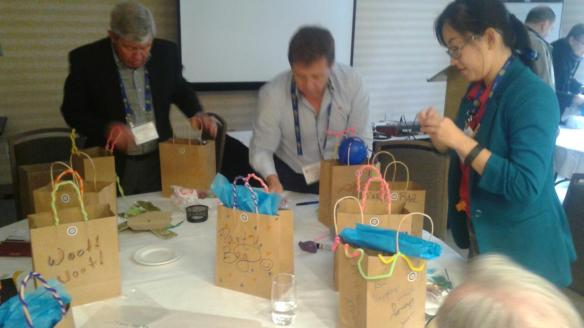Rotarians in District 7070 package bags